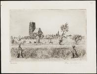 SPUIJBROEK_040 Gezicht op Brielle vanuit de polder, met de St. Catharijnekerk en de Geuzenkerk, ca. 1935