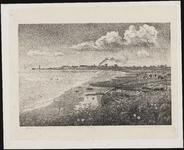 SPUIJBROEK_065 Gezicht op Hellevoetsluis vanaf de Struytse Gorzen (Struytse Zeedijk). Op de achtergrond de skyline van ...