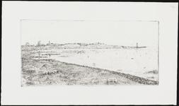 SPUIJBROEK_162 Gezicht op Hellevoetsluis vanaf de Struytse Gorzen (Gorzenpad). Op de achtergrond de skyline van de ...