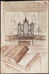 SPUIJBROEK_175 Het interieur van de kerk van Nieuw-Helvoet met orgel en Bijbel, ca. 1955