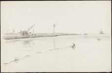 SPUIJBROEK_213 Versterking van de Nieuwe Zeedijk bij Hellevoetsluis tijdens de aanleg van de werkhaven, 1955