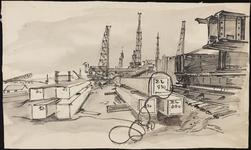 SPUIJBROEK_214 De bouwput voor de aanleg van het sluizencomplex van de Haringvlietdam, met kranen en heipalen, ca. 1955