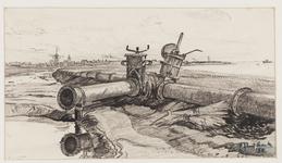 SPUIJBROEK_224 Afsluiters van de pijpleiding bij de aanleg van de Werkhaven, 1955