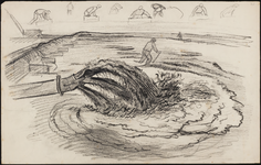 SPUIJBROEK_245 Aanleg van de werkhaven: opspuiten van zand (studie), 1955
