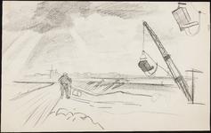 SPUIJBROEK_246 Aanleg van de werkhaven: arbeiders en dragline (studie), 1955