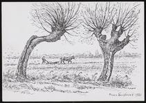 SPUIJBROEK_247G Verjaardagskaart van de Hervormde Gemeente Nieuw-Helvoet. De ploeger op de akker, 1980