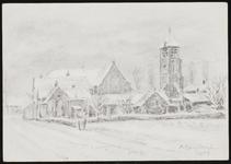 SPUIJBROEK_247I Verjaardagskaart van de Hervormde Gemeente Nieuw-Helvoet. De kerk van Nieuw-Helvoet in de sneeuw, 1983