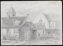 SPUIJBROEK_247J Verjaardagskaart van de Hervormde Gemeente Nieuw-Helvoet. Enkele woningen, met de kerk van ...