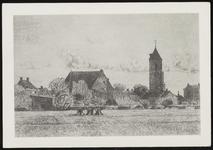 SPUIJBROEK_247L Verjaardagskaart van de Hervormde Gemeente Nieuw-Helvoet. Wieders op een akker, op de achtergrond de ...