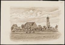 SPUIJBROEK_265 Wieders zijn bezig op een akker in de polder van Nieuw-Helvoet. Op de achtergrond het dorp met de kerk, ...