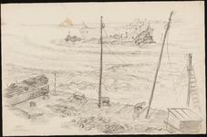 SPUIJBROEK_A_017 Werkzaamheden aan de Zeedijk in Oudenhoorn om het gat van de Watersnoodramp te dichten, 1953