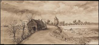 SPUIJBROEK_A_022 De inundatie in Nieuw-Helvoet tijdens de Tweede Wereldoorlog. Mogelijk gezicht vanaf , 1944