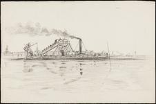 SPUIJBROEK_A_226 Baggermolen met stortschip tijdens de aanleg van de Werkhaven, ca. 1955
