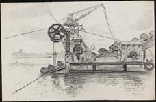 SPUIJBROEK_A_229 Aanleg van de Werkhaven: een baggermolen diept de haven uit, ca. 1955