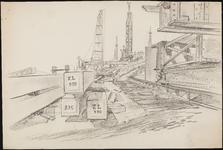 SPUIJBROEK_A_230 Werkzaamheden in de bouwput: heipalen en heistellingen, ca. 1955