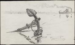 SPUIJBROEK_A_233 Aanleg van de Werkhaven: een anker met een lier op de voorgrond, een baggermolen op de achtergrond, ca. 1955