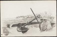 SPUIJBROEK_A_234 Aanleg van de Werkhaven: een anker met een lier op de voorgrond, een schip en de luchwachttoren op de ...
