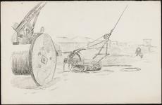 SPUIJBROEK_A_236 Werkzaamheden in de bouwput: een dragline, ca. 1955
