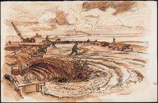 SPUIJBROEK_A_238 Aanleg van de Werkhaven: opspuiten van zand, ca. 1955