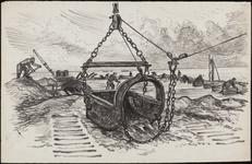 SPUIJBROEK_A_239 Aanleg van de Werkhaven: een dragline aan het werk, ca. 1955