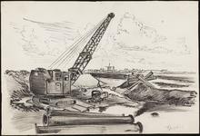 SPUIJBROEK_A_240 Aanleg van de Werkhaven: een dragline aan het werk, ca. 1955