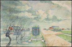 SPUIJBROEK_B_6788 Herinnering aan de inundatie van 1944. De boerderij van L. Lageweg aan de Hellevoetse Achterweg te ...