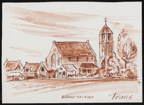 SPUIJBROEK_B_6791 Gezicht op het dorp Nieuw-Helvoet, met de kerktoren, 1980
