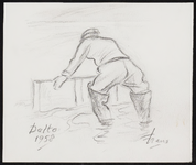 SPUIJBROEK_B_6793 Een Deltawerker met laarzen in het water, 1958