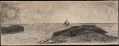 SPUIJBROEK_D_007 Uitzicht op het Haringvliet met de houten havenhoofden op de voorgrond, ca. 1935