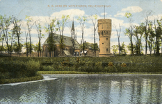 PB3123 Hellevoetsluis; De katholieke kerk en de watertoren, ca. 1908