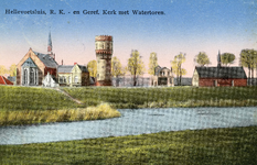 PB3124 Hellevoetsluis; De katholieke kerk, de watertore en de gereformeerde kerk, ca. 1925