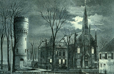 PB3126 Hellevoetsluis; De watertoren en de katholieke kerk met pastorie, ca. 1906