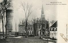 PB3127 Hellevoetsluis; De watertoren en de katholieke kerk met pastorie, ca. 1905