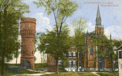 PB3128 Hellevoetsluis; De watertoren en de katholieke kerk met pastorie, ca. 1900