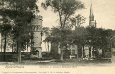 PB3130 Hellevoetsluis; De watertoren en de katholieke kerk met pastorie, ca. 1900
