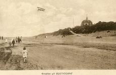 PB5184 Groeten uit Oostvoorne, een vliegtuigje en Koepel Zeeburg, ca. 1921