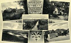 PB7842 Rockanje; Compilatie van afbeeldingen van Vredeheim, Quackjeswater, Schapengorsduin, de Goudswaardbank en een ...