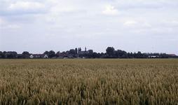 DIA35053 Landelijk gezicht op het dorp vanaf de Tussenweg. Uitgestrekte akkers met rijpend tarwe; ca. 1993
