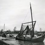 HE_KANAALWEGWESTZIJDE_015 Hellevoetsluis; Vissersschepen in het Kanaal door Voorne, 5 februari 1966
