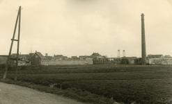 SP_BREEWEG_002 Gezicht op de tuinderij van Piet Huisman, met schoorsteen; 1952