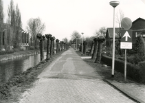 SP_VIERAMBACHTENKADE_012 De geknotte wilgen langs de Vierambachtenkade. Op de achtergrond de gereformeerde kerk; 1988
