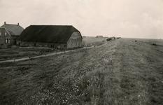 ZL_DIJKVERSTERKING_30 Kijkje vanaf de Zeedijk. De boerderij van Oosthoek aan de Koeneweg; 1957