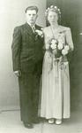ZW_PERSONEN_138 Huwelijksportret van Dirk Sluimer en Wilhelmina Maartje Goedendorp; 12 mei 1948