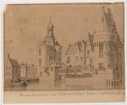 1a24 Drommedaris en Oostindische Toren te Enkhuizen : vanuit het zuidwesten, 17-