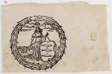 1a82 Stedemaagd en stadswapen van Enkhuizen, met stadsprofiel op de achtergrond, ca. 1700