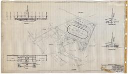 10001349 Ontwerp voor sportpark aan de Buiten Luiendijk, inclusief aanzicht van tribune, Hoorn, Julianapark, ongedateerd