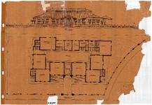 10001393 Plan voorgevel en grondplan nieuw te bouwen school, Hoorn, Johan Messchaertstraat 3, ongedateerd