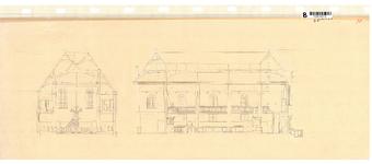 10001427 Dwars- en lengtedoorsnede Lutherse Kerk aan de Ramen 4, Hoorn, Ramen 4, ongedateerd
