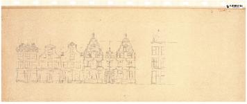 10001429 Gevelwand geveltekening tussen Nieuwstraat 15 en 23, met deel gevelwand Gouw 1, Hoorn, Nieuwstraat, ongedateerd