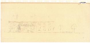 10001430 Gevelwand geveltekening Doelengebouw met hekwerk aan Onder de Boompjes, Hoorn, Achterstraat, ongedateerd